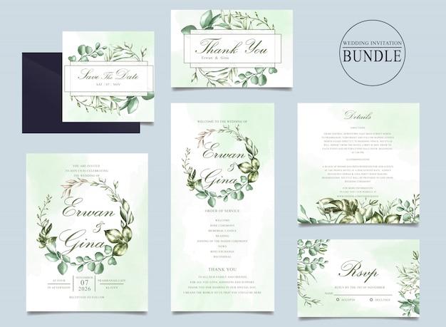 Modelo de pacote de cartão de convite de casamento com folhas verdes Vetor Premium