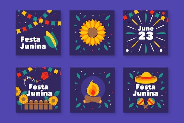 Modelo de pacote de cartão festa junina design plano Vetor grátis