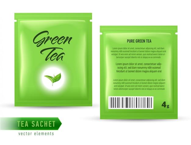 Modelo de pacote de saquinho de chá em branco backgrpound. saco de pacote de chá realista. Vetor Premium