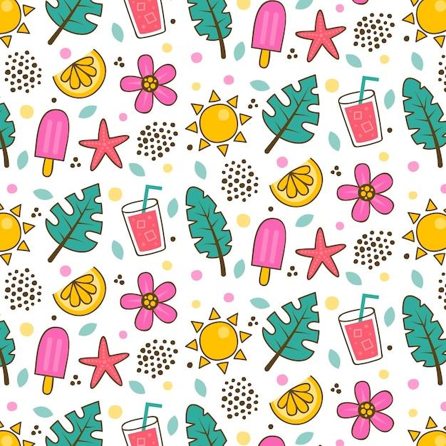 Modelo de padrão de verão com folhas e sorvete Vetor grátis