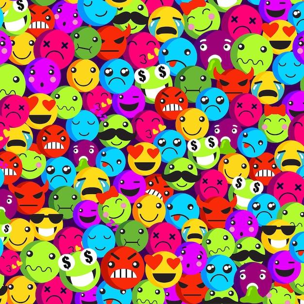 Modelo de padrão sem emenda de emoticon de vários rostos Vetor grátis