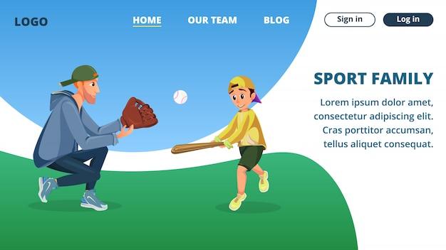 Modelo de página da página de aterrissagem com o pai de cartoon de família de esporte e filho jogar beisebol Vetor Premium