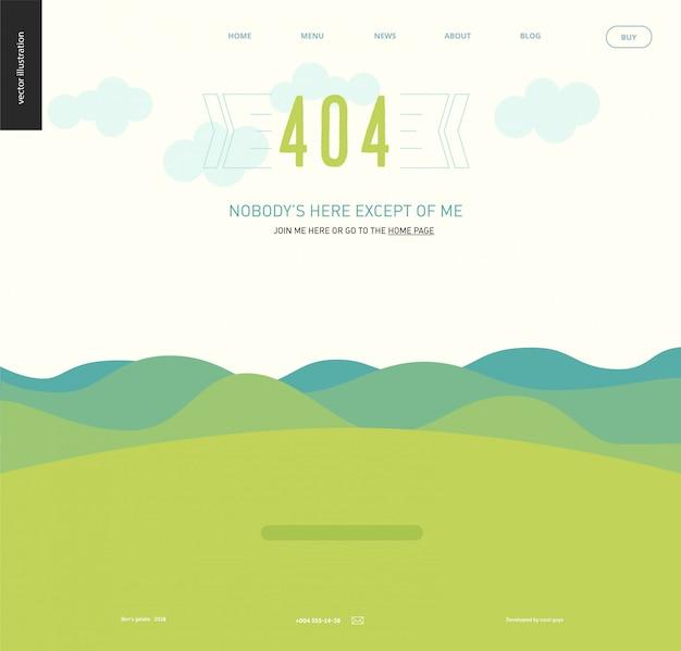 Modelo de página da web 404 erro - paisagem com colinas azul esverdeado e montanhas, céu claro com nuvens, campo de grama verde Vetor Premium