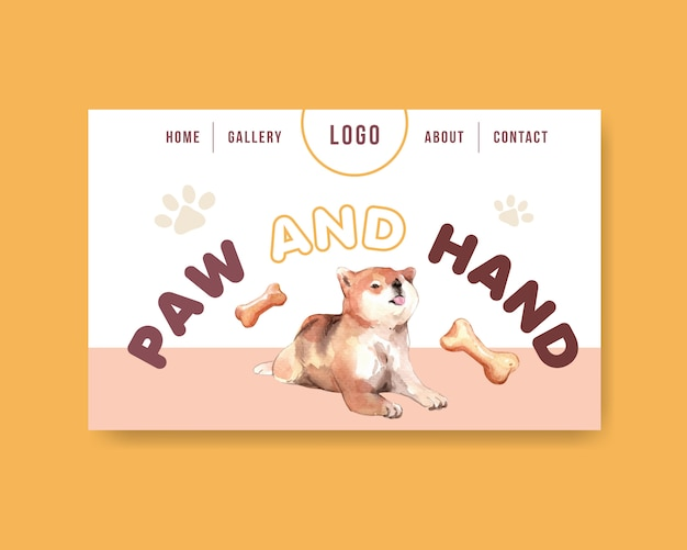 Modelo de página da web cão aquarela Vetor grátis