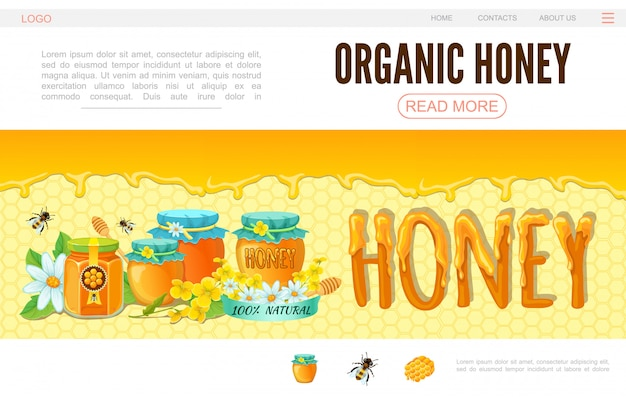 Modelo de página da web de apicultura dos desenhos animados com vasos de flores de abelhas de mel orgânico em fundo de favo de mel Vetor grátis
