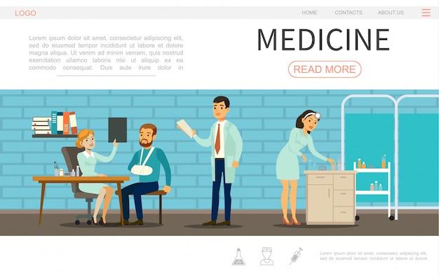 Modelo de página da web de plano de saúde com médicos, enfermeira e paciente no hospital Vetor grátis