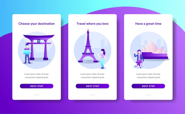 Modelo de página de aplicativo de destino de viagem design Vetor Premium