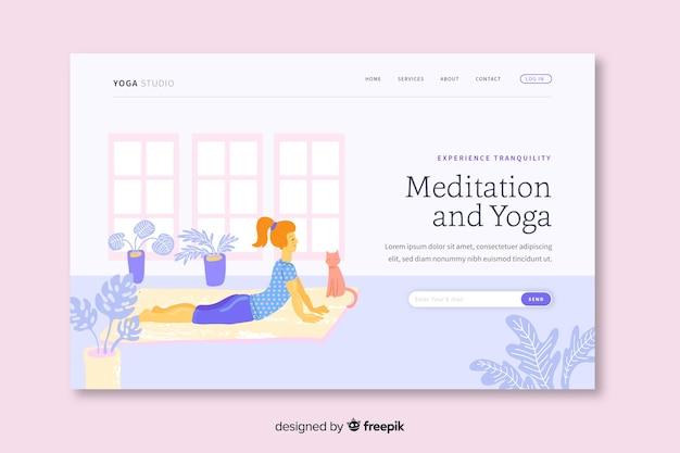 Modelo de página de aterragem de meditação e ioga Vetor grátis