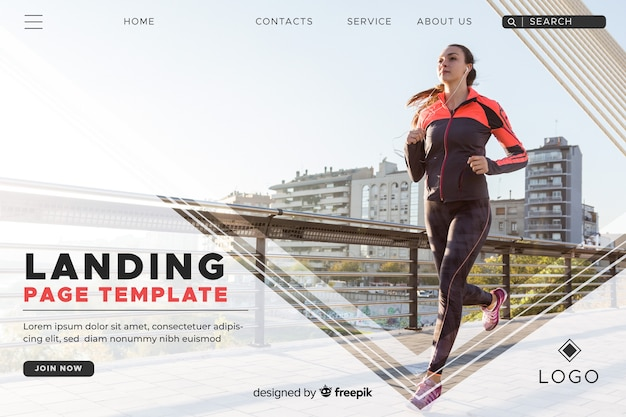 Modelo de página de aterragem do esporte com foto Vetor grátis