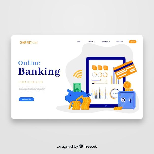 Modelo de página de aterrissagem bancária on-line Vetor grátis