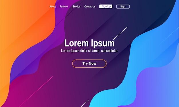 Modelo de página de aterrissagem colorido abstrato Vetor Premium