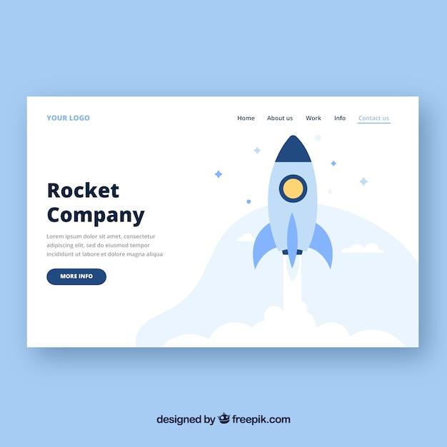 Modelo de página de aterrissagem com conceito de foguete Vetor grátis