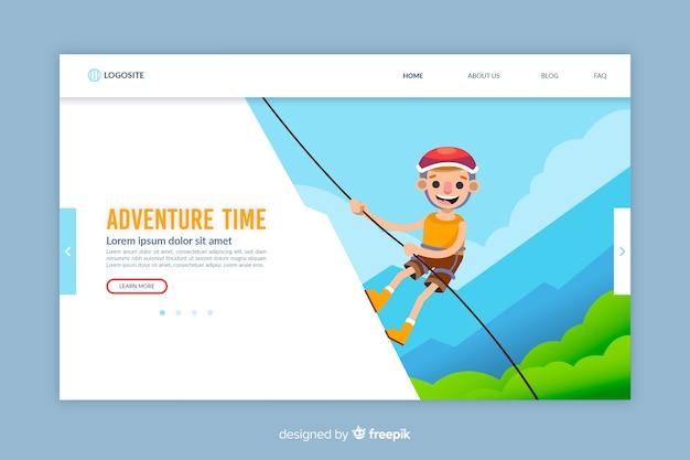 Modelo de página de aterrissagem de aventura de design plano Vetor grátis