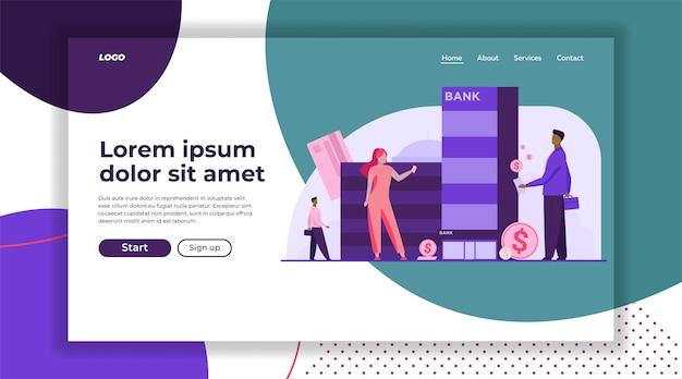 Modelo de página de aterrissagem de clientes com dinheiro em pé perto do banco Vetor grátis