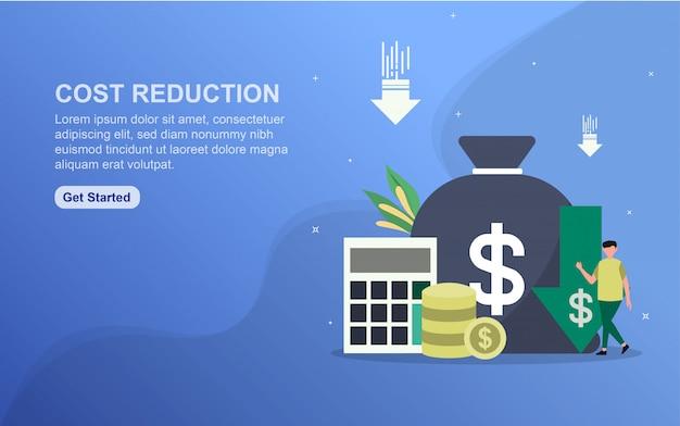 Modelo de página de aterrissagem de conceito de redução de custo. Vetor Premium