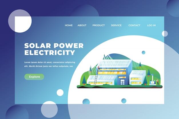 Modelo de página de aterrissagem de eletricidade de energia solar Vetor Premium