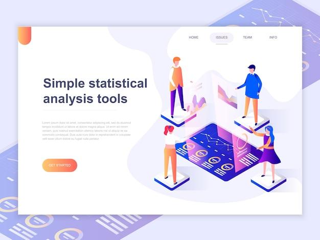 Modelo de página de aterrissagem de gráficos e análise de estatísticas. Vetor Premium