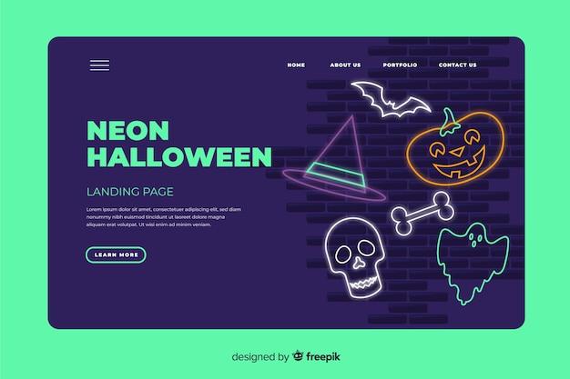 Modelo de página de aterrissagem de halloween de néon Vetor grátis