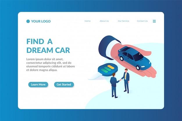 Modelo de página de aterrissagem de site isométrico de negociante de carro Vetor Premium