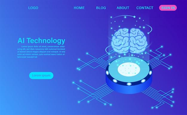 Modelo de página de aterrissagem de tecnologia de inteligência artificial Vetor Premium