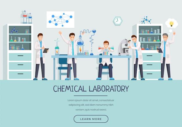 Modelo de página de aterrissagem de trabalhadores de laboratório químico Vetor Premium