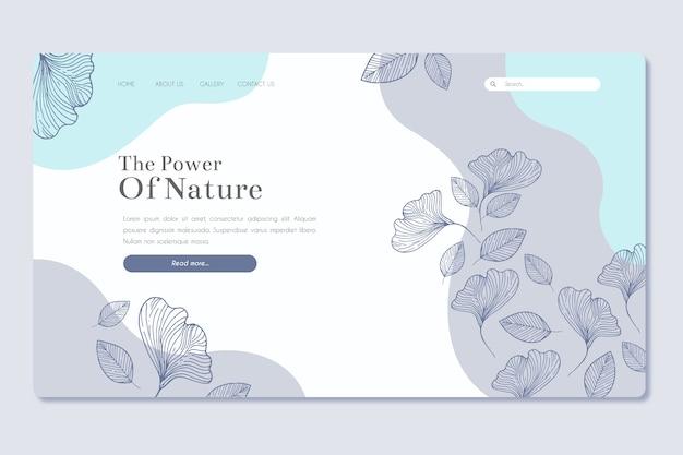 Modelo de página de aterrissagem desenhada de mão natureza Vetor grátis