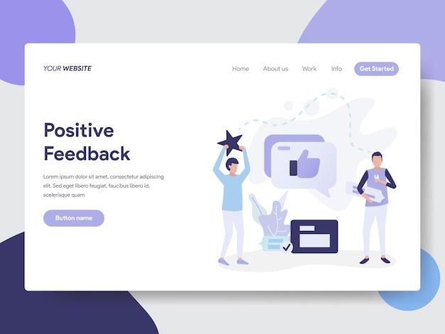 Modelo de página de aterrissagem do conceito de ilustração de feedback positivo Vetor Premium