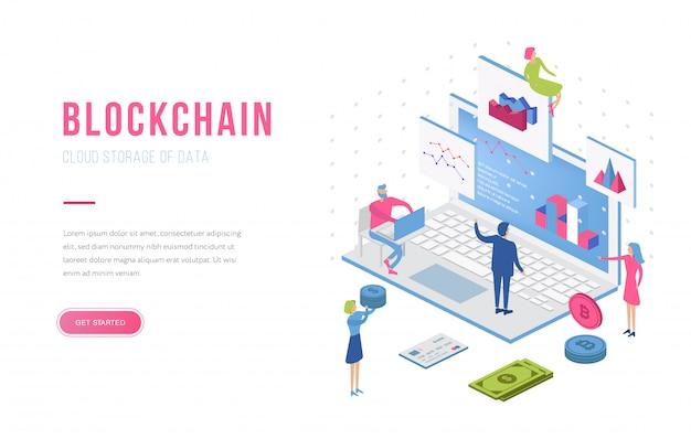 Modelo de página de aterrissagem isométrica de blockchain moderno design plano. conceito de criptomoeda e pessoas. modelo de página de destino. Vetor Premium