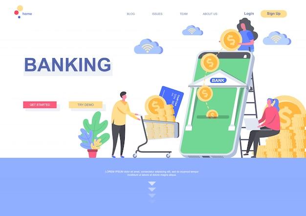 Modelo de página de aterrissagem plana bancário. pagamento on-line e transação financeira com a situação do aplicativo móvel bancário. página da web com caracteres de pessoas. ilustração de crédito e depósito. Vetor Premium