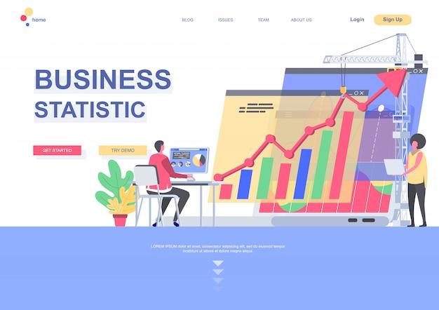 Modelo de página de aterrissagem plana de estatísticas de negócios. gerente que trabalha com analítica financeira com a situação do computador. página da web com caracteres de pessoas. ilustração de contabilidade e consultoria empresarial Vetor Premium