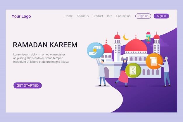 Modelo de página de aterrissagem ramadan kareem com pessoas pequenas Vetor Premium