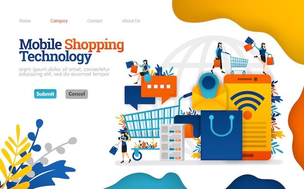 Modelo de página de destino. ajuda móvel gerenciando compras e necessidades diárias, ilustração vetorial Vetor Premium