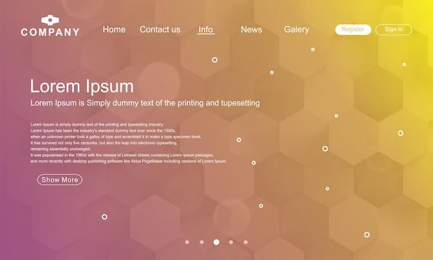Modelo de página de destino com fundo geométrico abstrato colorido gradiente Vetor Premium