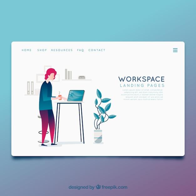 Modelo de página de destino com o conceito de espaço de trabalho Vetor grátis