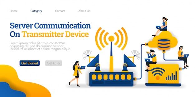 Modelo de página de destino. comunicação do servidor no dispositivo transmissor. transmissor distribui dados do banco de dados Vetor Premium