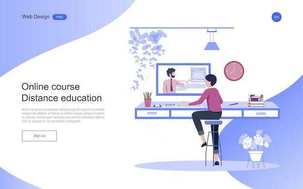 Modelo de página de destino. conceito de educação para aprendizagem on-line, treinamento e cursos. Vetor Premium