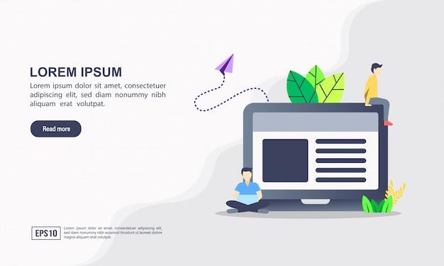 Modelo de página de destino. conceito de ilustração de blogging com caráter. Vetor Premium