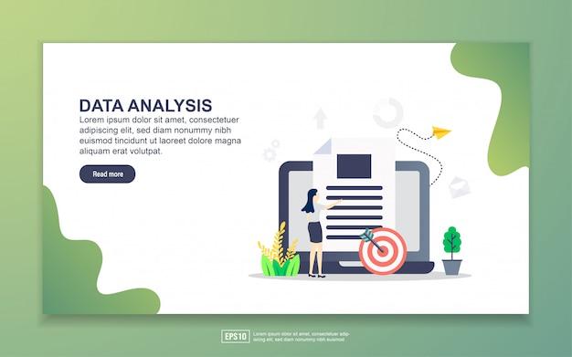 Modelo de página de destino da análise de dados. conceito moderno design plano de design de página da web para o site e site móvel. Vetor Premium