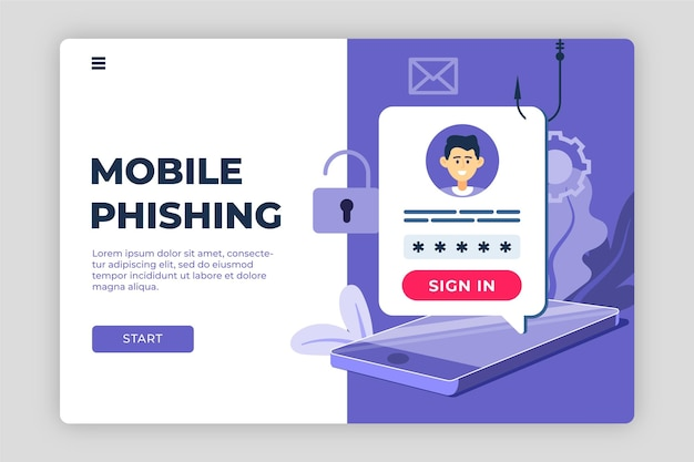 Modelo de página de destino da conta de phishing Vetor grátis