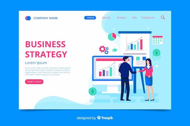 Modelo de página de destino da estratégia de negócios Vetor grátis