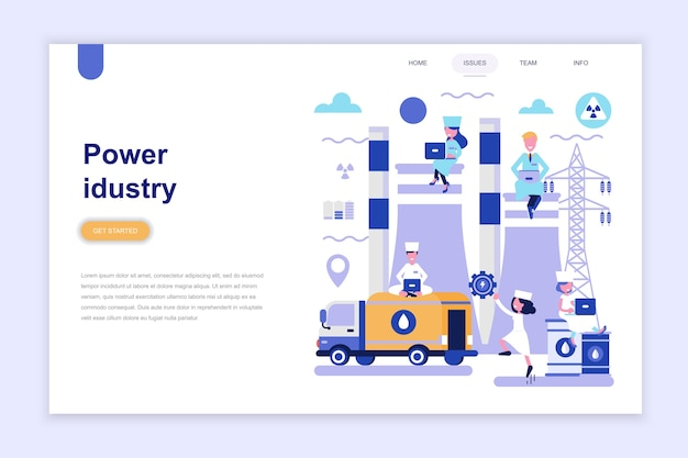 Modelo de página de destino da indústria de energia Vetor Premium