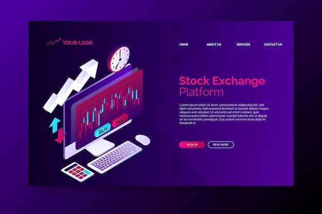 Modelo de página de destino da plataforma da bolsa de valores Vetor grátis
