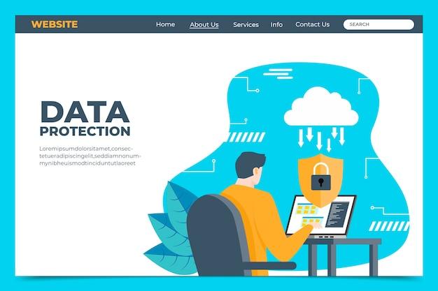 Modelo de página de destino da proteção de dados Vetor grátis