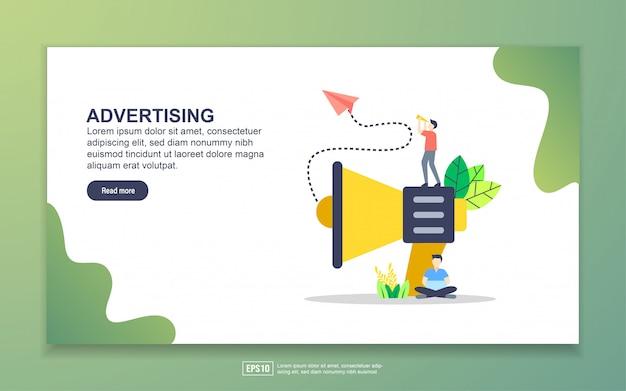 Modelo de página de destino da publicidade. conceito moderno design plano de design de página da web para o site e site móvel. Vetor Premium
