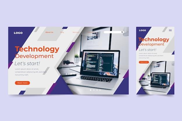 Modelo de página de destino da tecnologia Vetor grátis