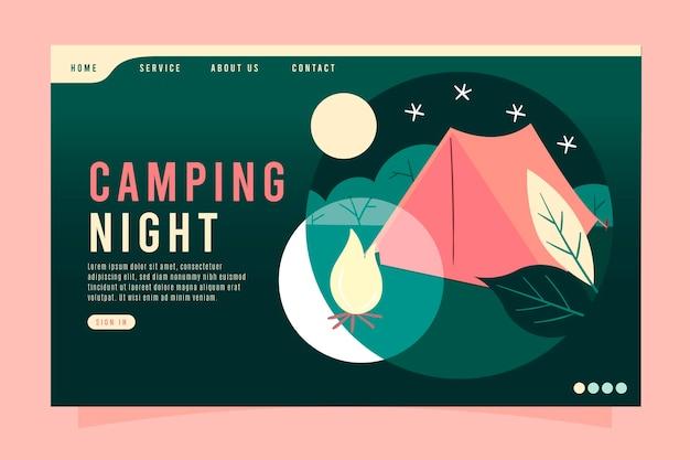 Modelo de página de destino de acampamento Vetor grátis