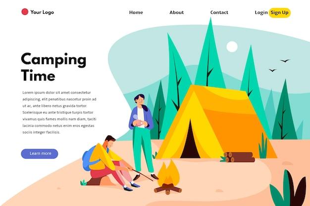 Modelo de página de destino de acampamento Vetor Premium