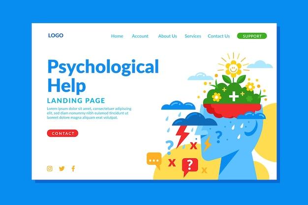 Modelo de página de destino de ajuda psicológica de design plano Vetor Premium