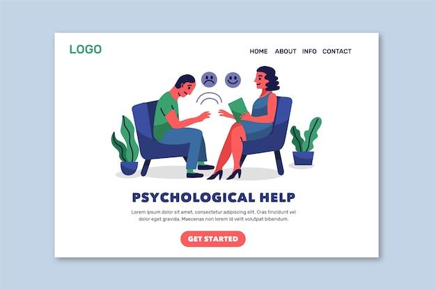 Modelo de página de destino de ajuda psicológica Vetor Premium