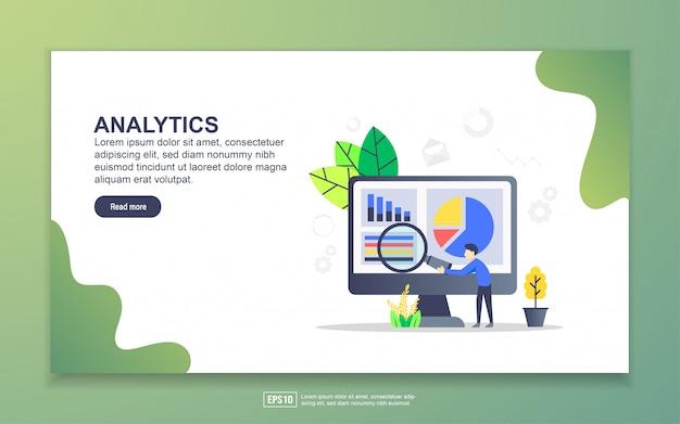 Modelo de página de destino de análises. conceito moderno design plano de design de página da web para o site e site móvel. Vetor Premium